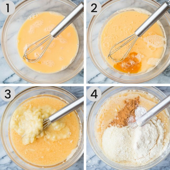 paleo banana bread batter collage