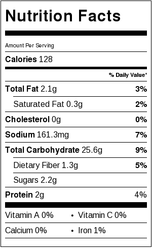 Gluten Free French Bread Nutrition