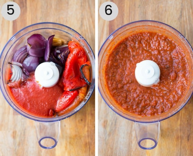 roasted red pepper sauce before and after mixing