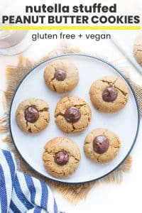 Nutella Stuffed Peanut Butter Cookies pin graphic