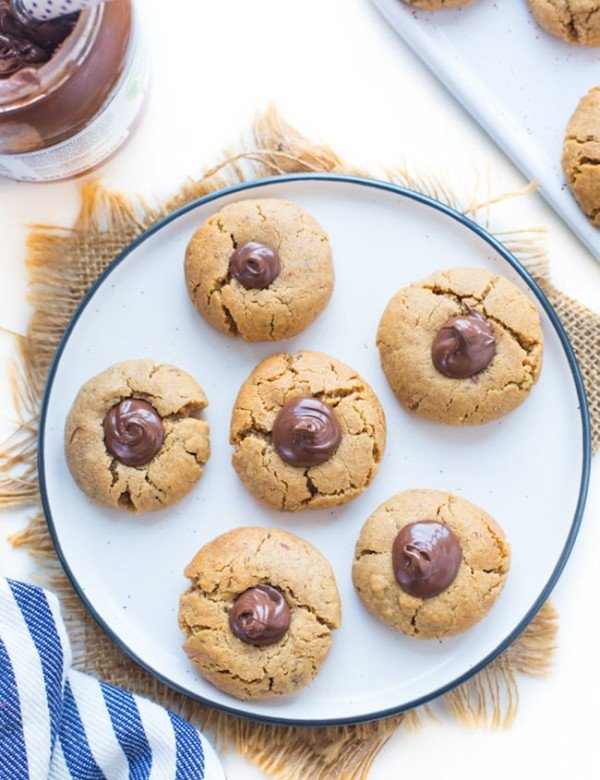 Peanut Butter Nutella Cookies on a plate