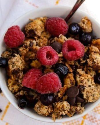 paleo granola with raspberries