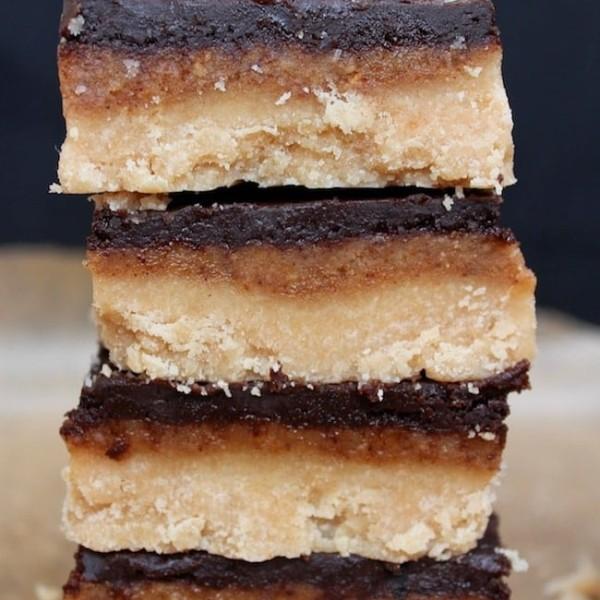 a stack of Paleo-Vegan-Millionaires-Shortbread