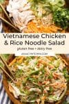 Vietnamese Chicken & Rice Noodle Salad pin graphic