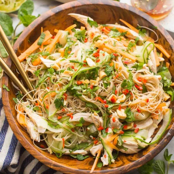 Vietnamese Chicken and Rice Noodle Salad in a salad bowl