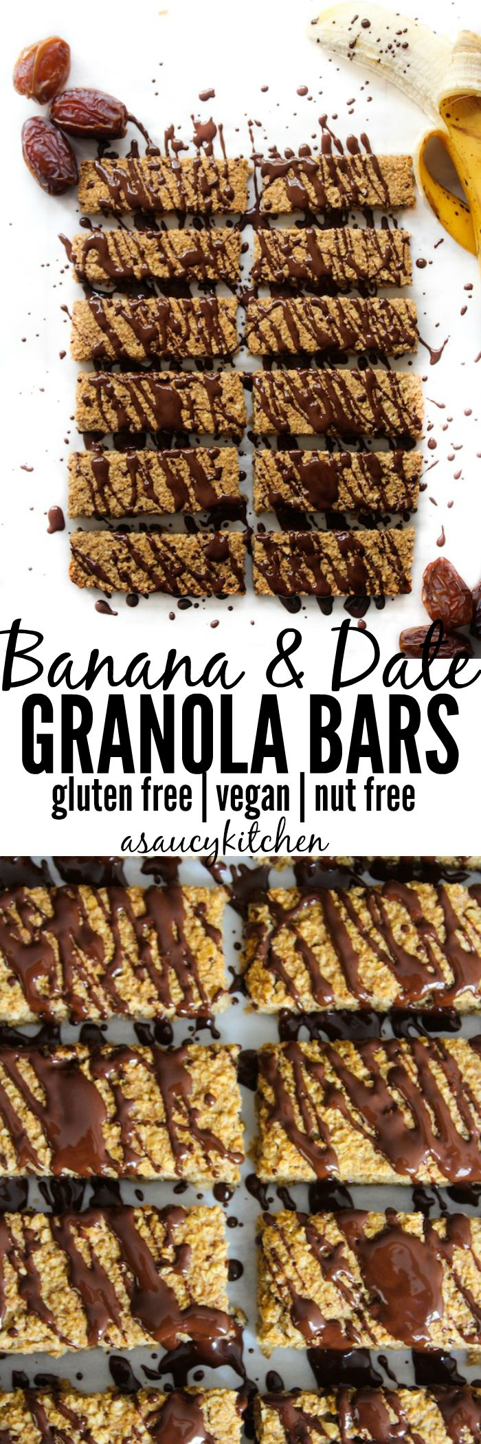 Banana & Date Granola Bars gluten free, nut free, vegan www.asaucykitchen.com