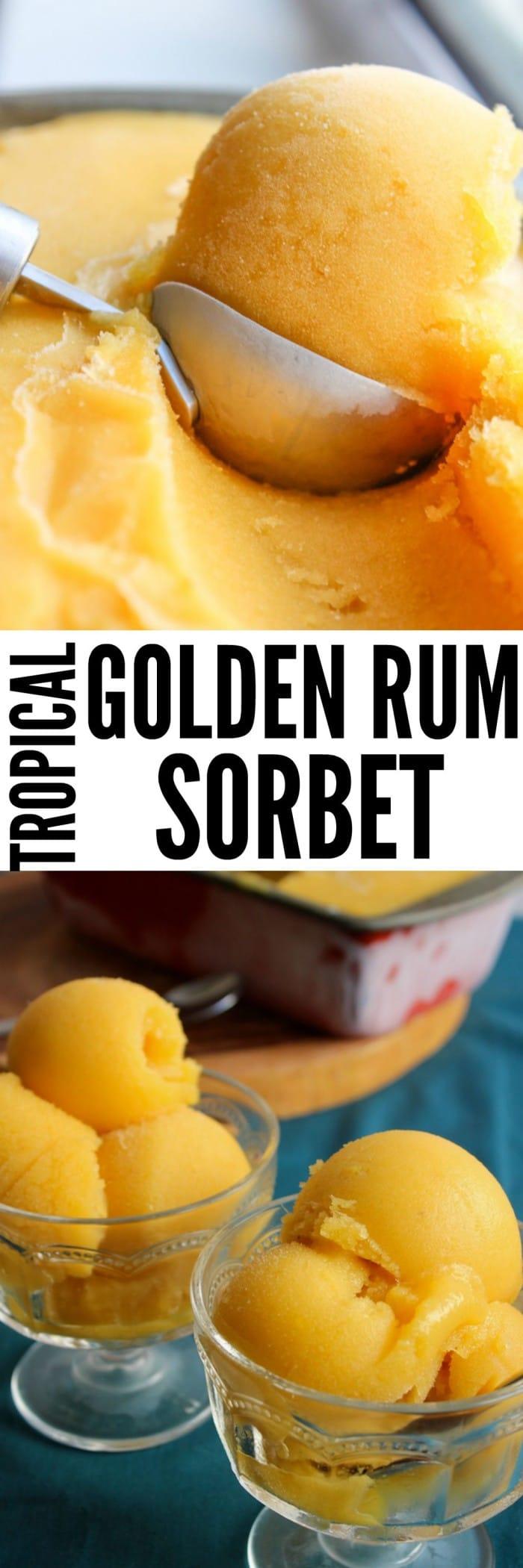Tropical Golden Rum Sorbet www.asaucykitchen.com