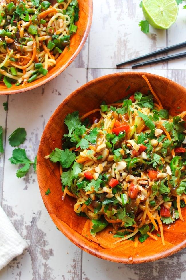 Veggie Pad Thai Salad and Peanut Dressing   www.asaucykitchen.com