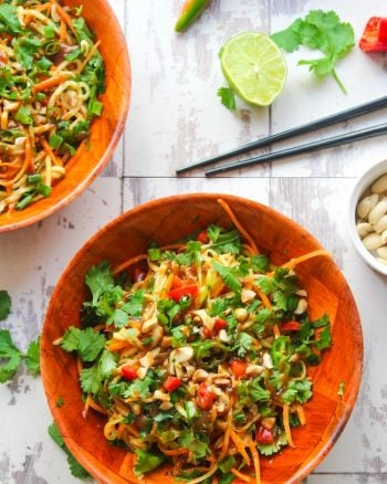 Veggie Pad Thai Zoodles with Peanut Dressing