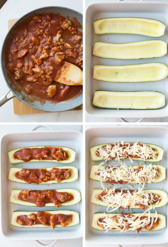 Zucchini Pizza Boats collage