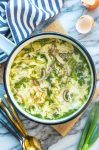 Ginger & Spring Onion Egg Drop Soup in a pot