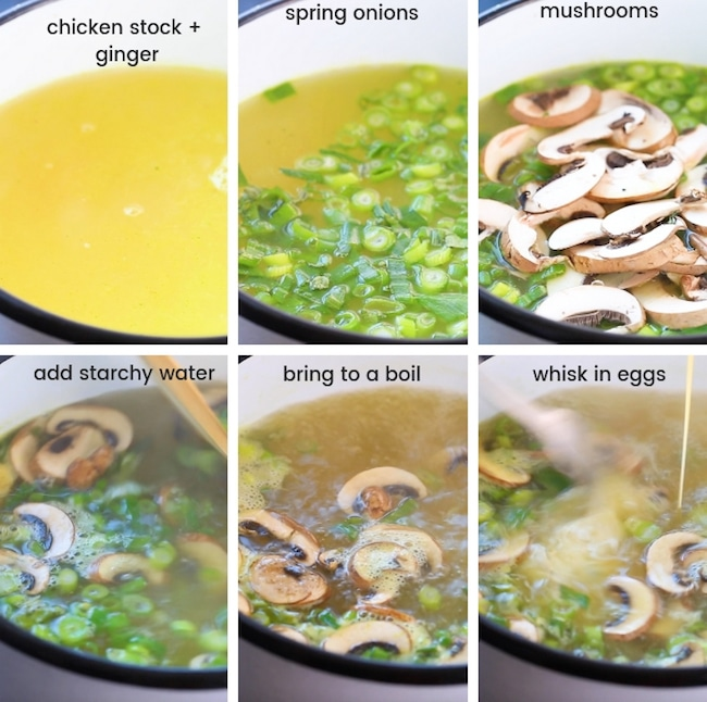 Ginger and Spring Onion Egg Drop Soup collage