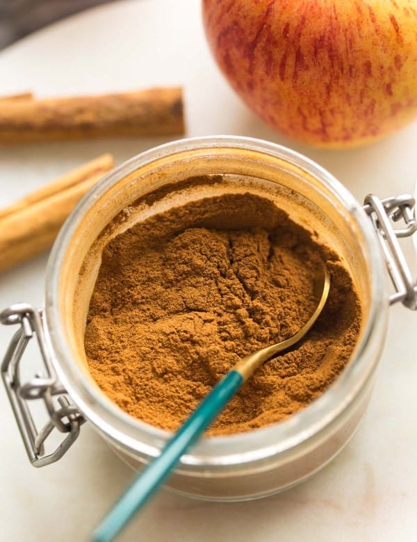 Homemade Apple Pie Spice blend in a small jar