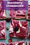 Raw Blackberry Cheesecake squares topped with fresh blackberries