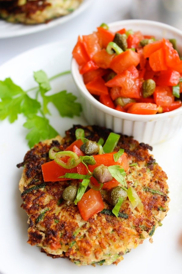 Ricotta Zucchini Fritters & Caper Tomato Salsa | www.asaucykitchen.com