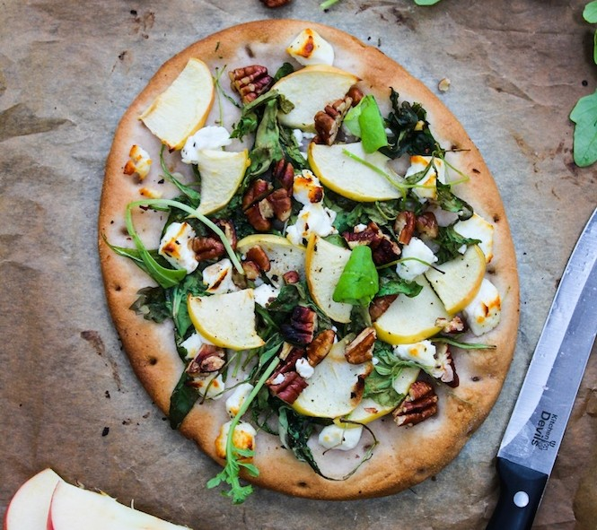 Arugula Apple and Goats Cheese Flatbread