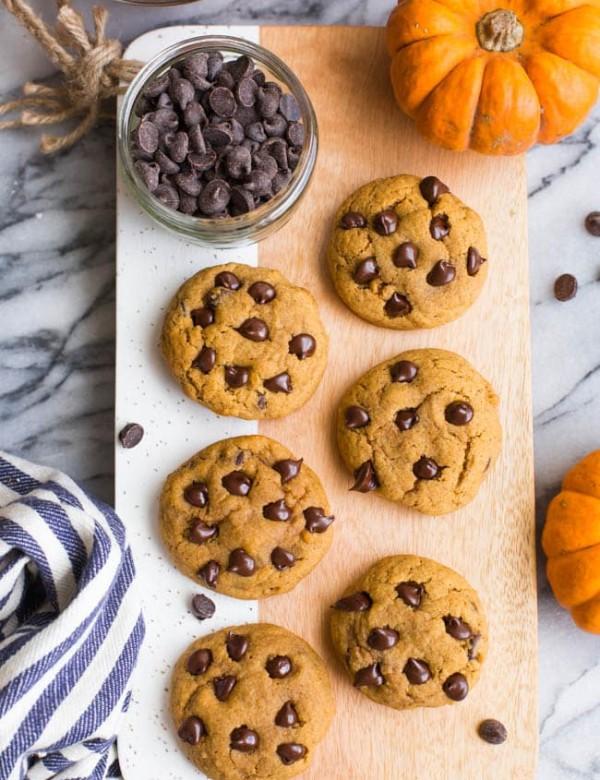 Gluten Free Vegan Pumpkin Chocolate Chip Cookies on a cutting board