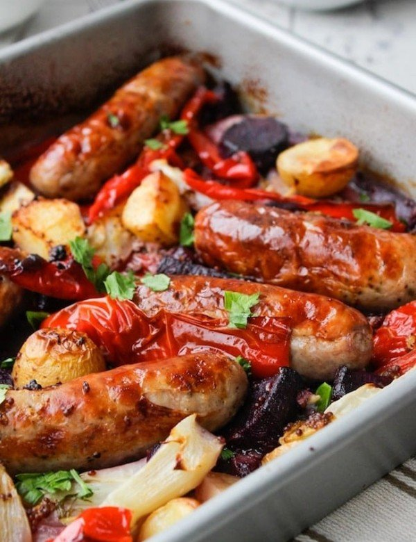 Sausage, Fennel and Pepper Roast topped with fresh parsley