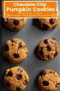 Vegan Chocolate Chip Pumpkin Cookies on a baking sheet with title