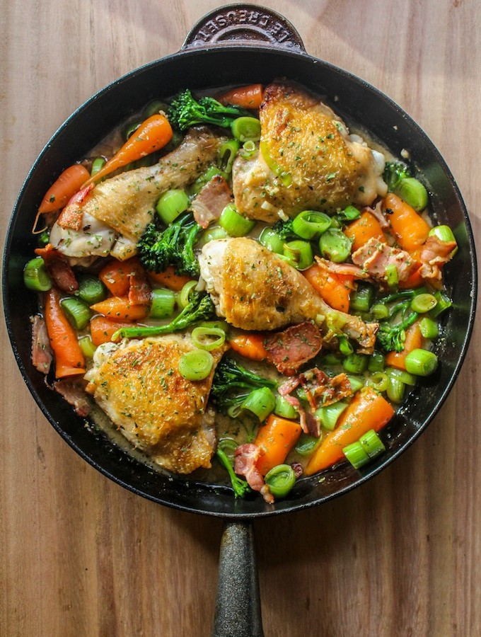 White Wine Braised Chicken and Vegetables