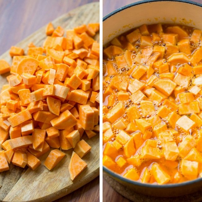paleo chili sweet potatoes cubes and boiled