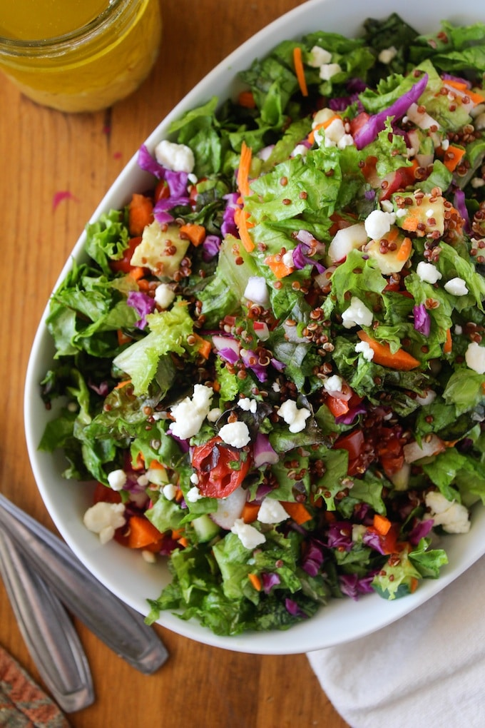 Chopped Farm Salad with Quinoa and Garden Greens A Saucy Kitchen