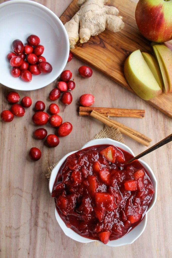 This & That cranberry sauce made with freshly grated ginger, chopped apples, and juicy cranberries.