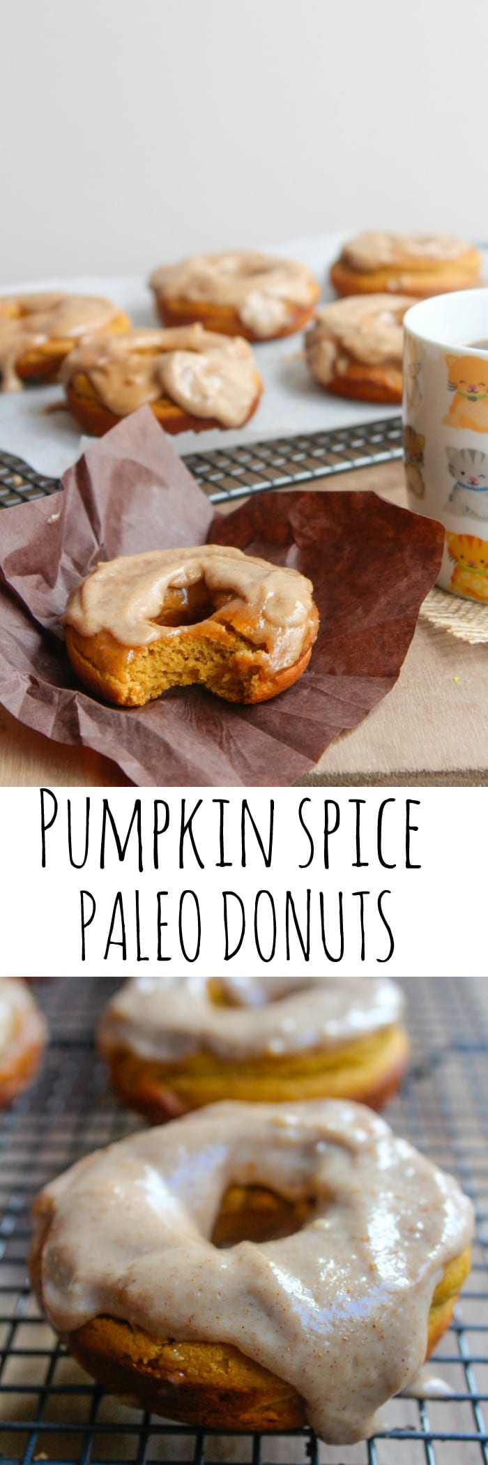 Baked paleo pumpkin spice donuts with a cashew cream maple frosting – in case you need a little motivation to get up in the morning!
