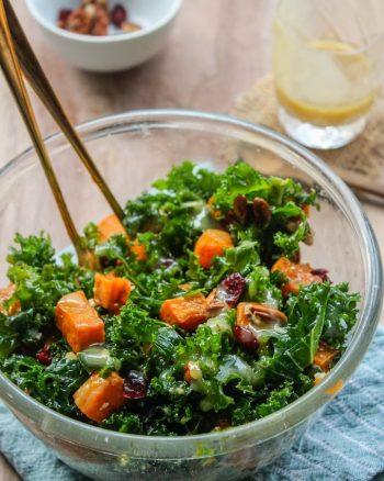 Spicy Roasted Sweet Potato & Kale Salad