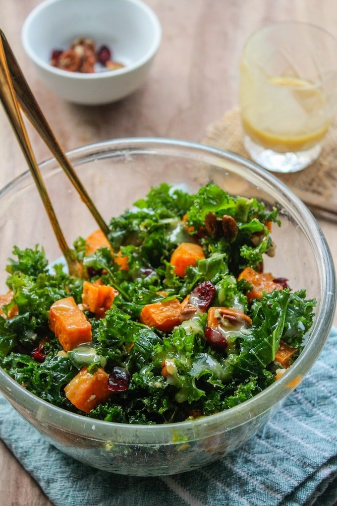 Spicy Roasted Sweet Potato & Kale Salad