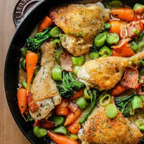 White Wine Braised Chicken And Vegetables A Saucy Kitchen