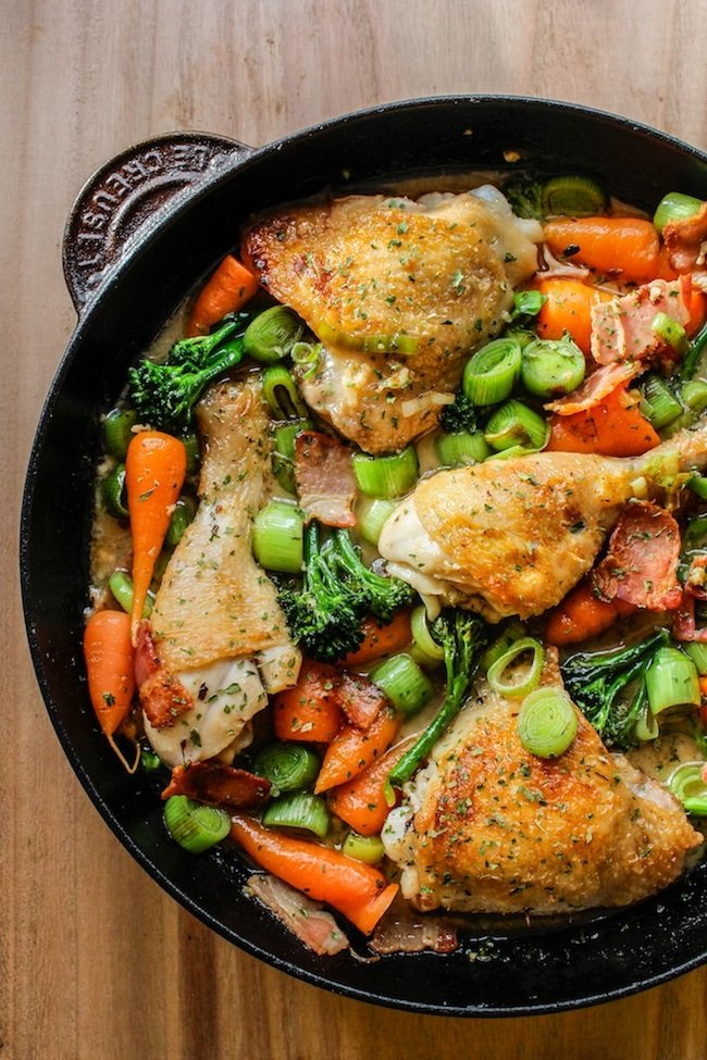 White Wine Braised Chicken and Vegetables