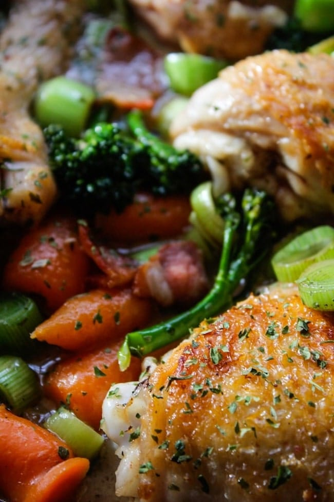 up close white wine braised chicken and veggies