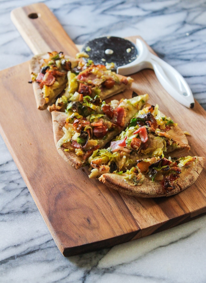 Bacon Brussels and Blue Cheese Flatbread: pizza for two in under 30 minutes!