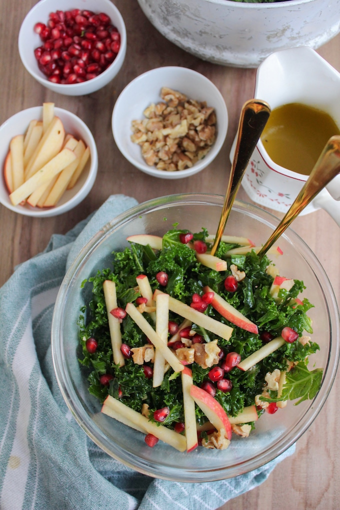 Kale Pomegranate Salad with Honey Mustard Dressing - A Saucy Kitchen