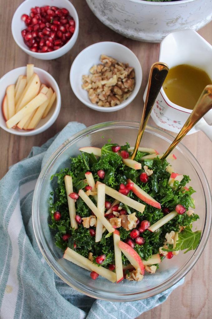 Kale Pomegranate Salad with Honey Mustard Dressing