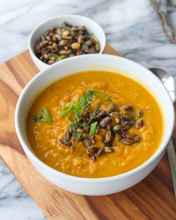 Sweet Potato Leek Soup with Spicy Toasted Pumpkin Seeds