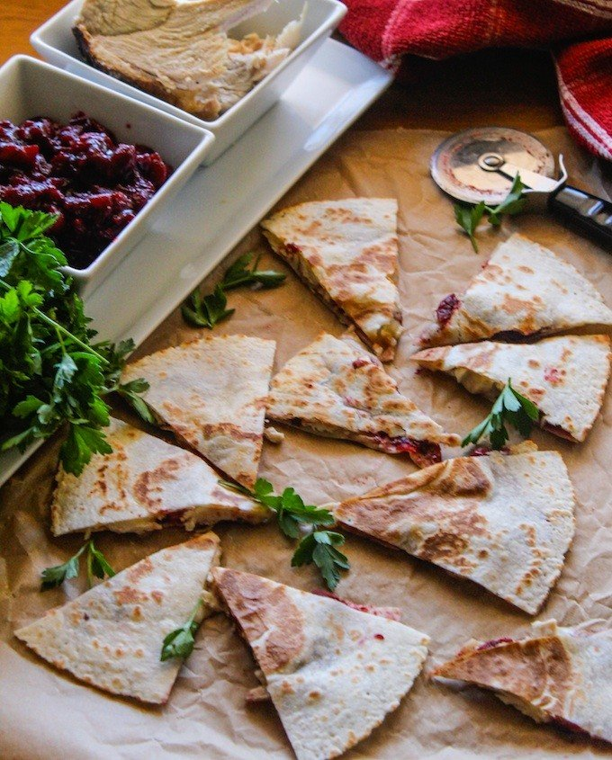 Turkey Cranberry and Brie Quesadilla