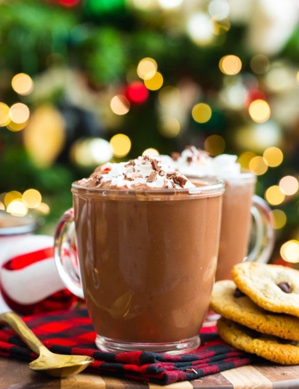 coconut milk peppermint hot chocolate topped with whipped cream