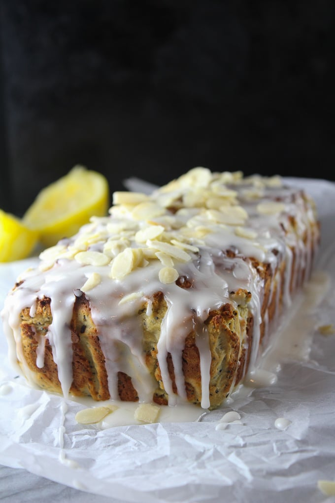 This Almond Lemon Poppy Seed Loaf is an easy mix and go recipe using a blend of grain free flours and fresh lemons. Not too sweet and not too tart!