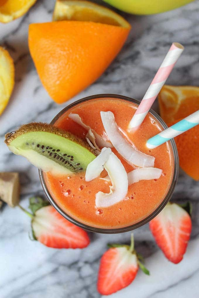 This Strawberry Ginger Smoothie is the perfect Vitamin C packed treat. It's sweet, fiery and perfect for getting you through this cold season.