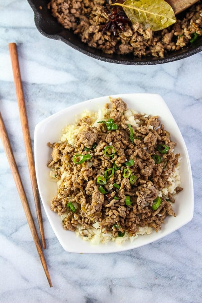 Taiwanese Minced Pork in a bowl topped with green onions