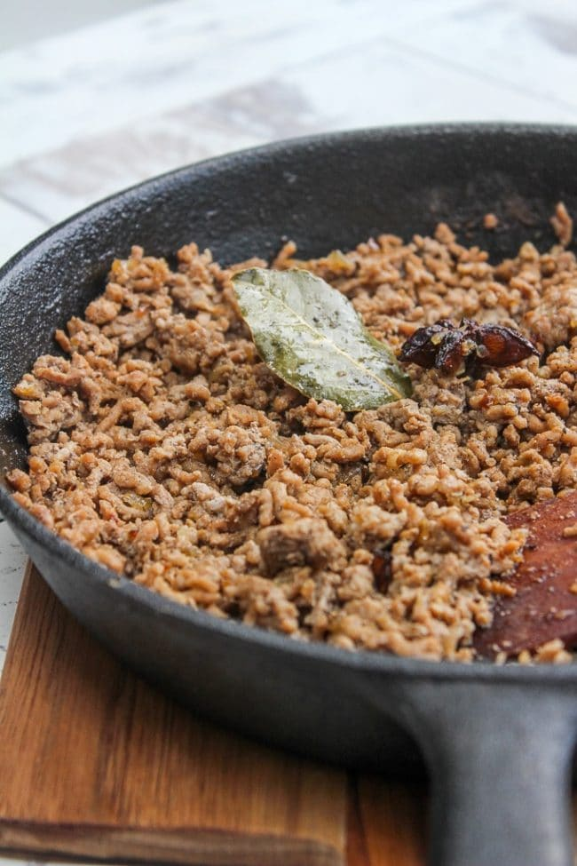 Taiwanese Minced Pork in a cast iron skillet