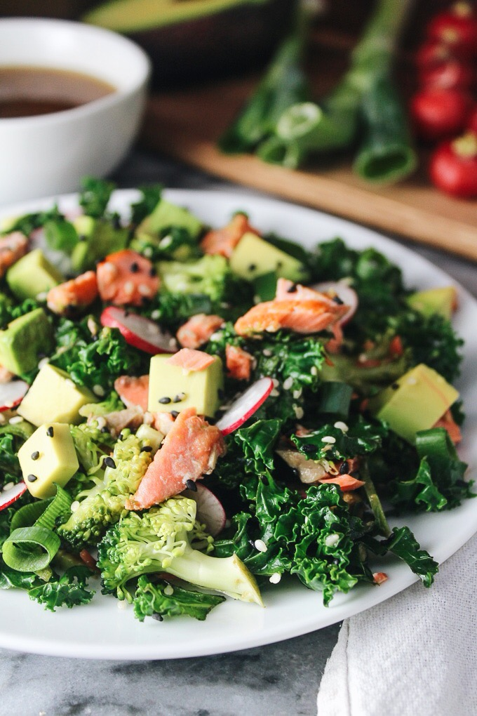 Sesame Salmon Salad with a Ginger Shallot Dressing: sharp flavors & wholesome ingredients