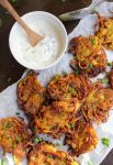 crispy onion bhajis with a yoghurt dip