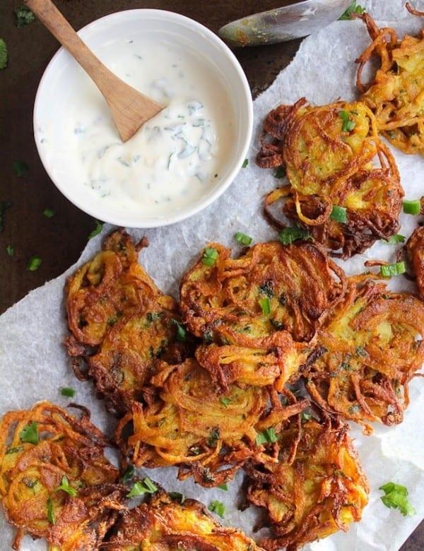crispy onion bhajis with a yoghurt dip