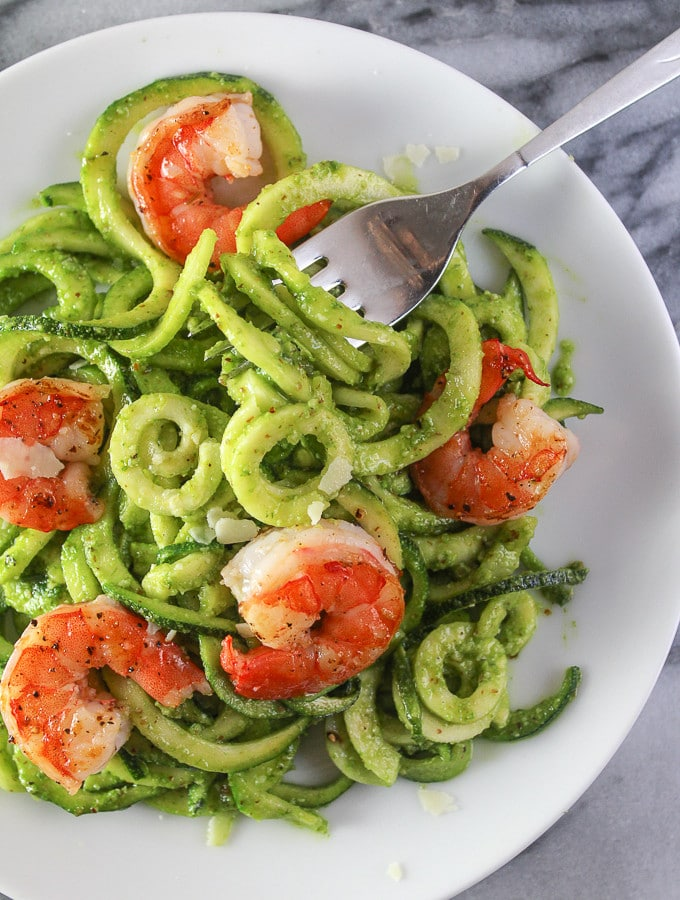 Chive Pesto Shrimp with Zoodles