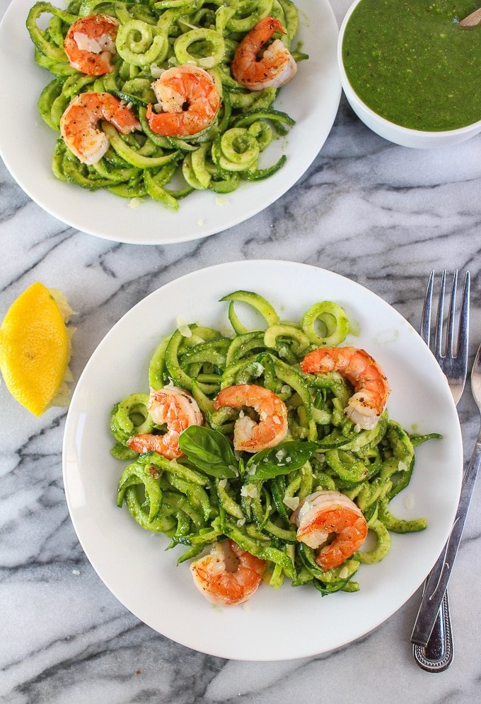 Chive Pesto Shrimp with Zoodles - low FODMAP, paleo, & Whole 30 approved!