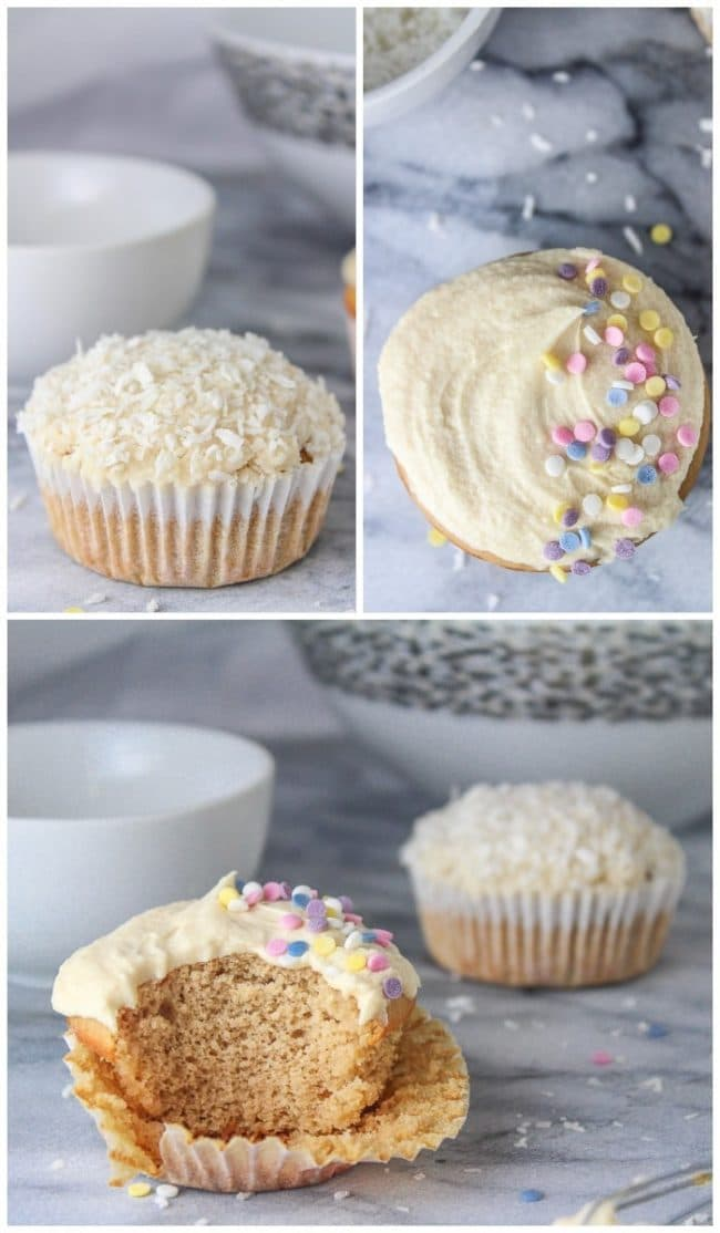 Single Serve Vanilla Cupcake collage