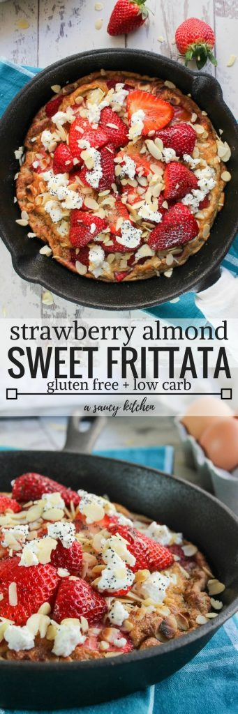 Switch up your usual breakfast routine with this strawberry almond sweet frittata! Perfect for breakfast, brunch, or a simple dessert!